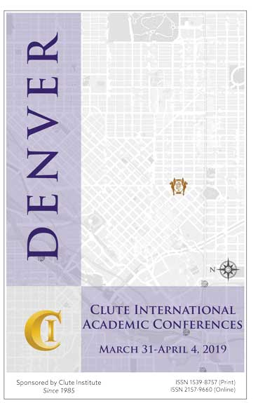 2019 Clute International Academic Conferences Denver Proceedings Cover